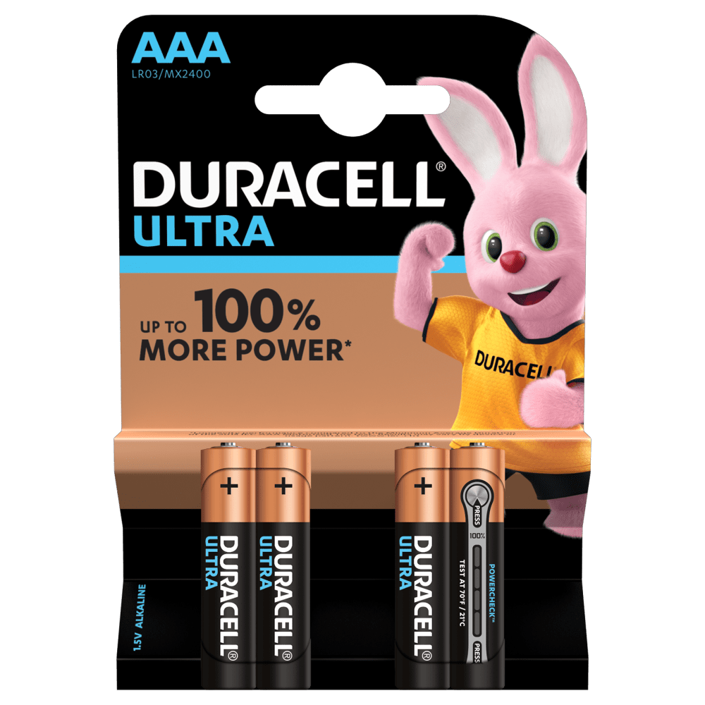 Duracell Ultra Alkaline AAA Batteries of 1.5V in 4 piece pack