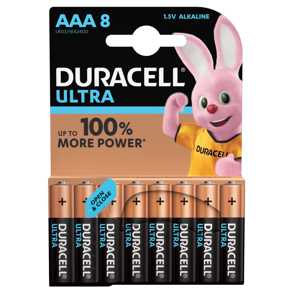 Duracell Ultra Alkaline AAA Batteries 1.5V 8 piece pack