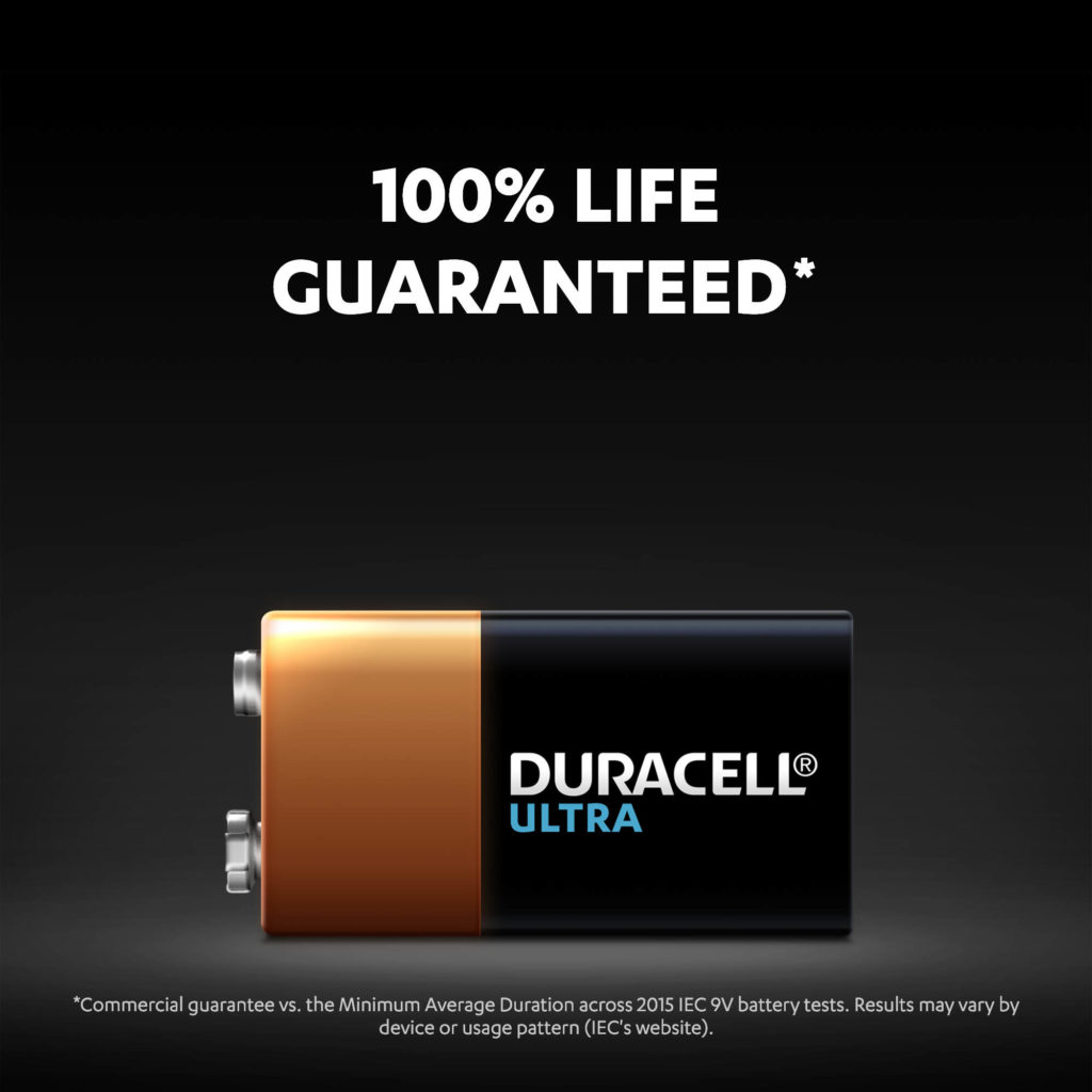 Alkaline Ultra 9V batteries with 100% life guaranteed