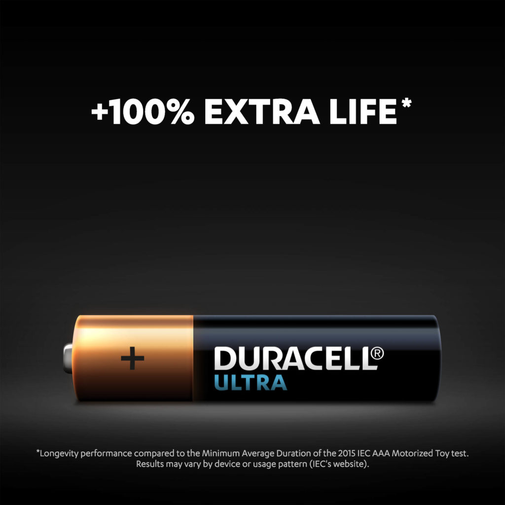 Up to 100% extra life with Alkaline Type Ultra AAA size battery