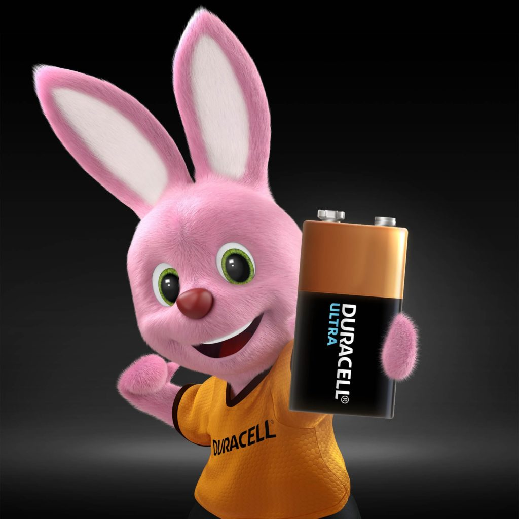 Bunny holding Duracell Alkaline Ultra Type 9V size battery