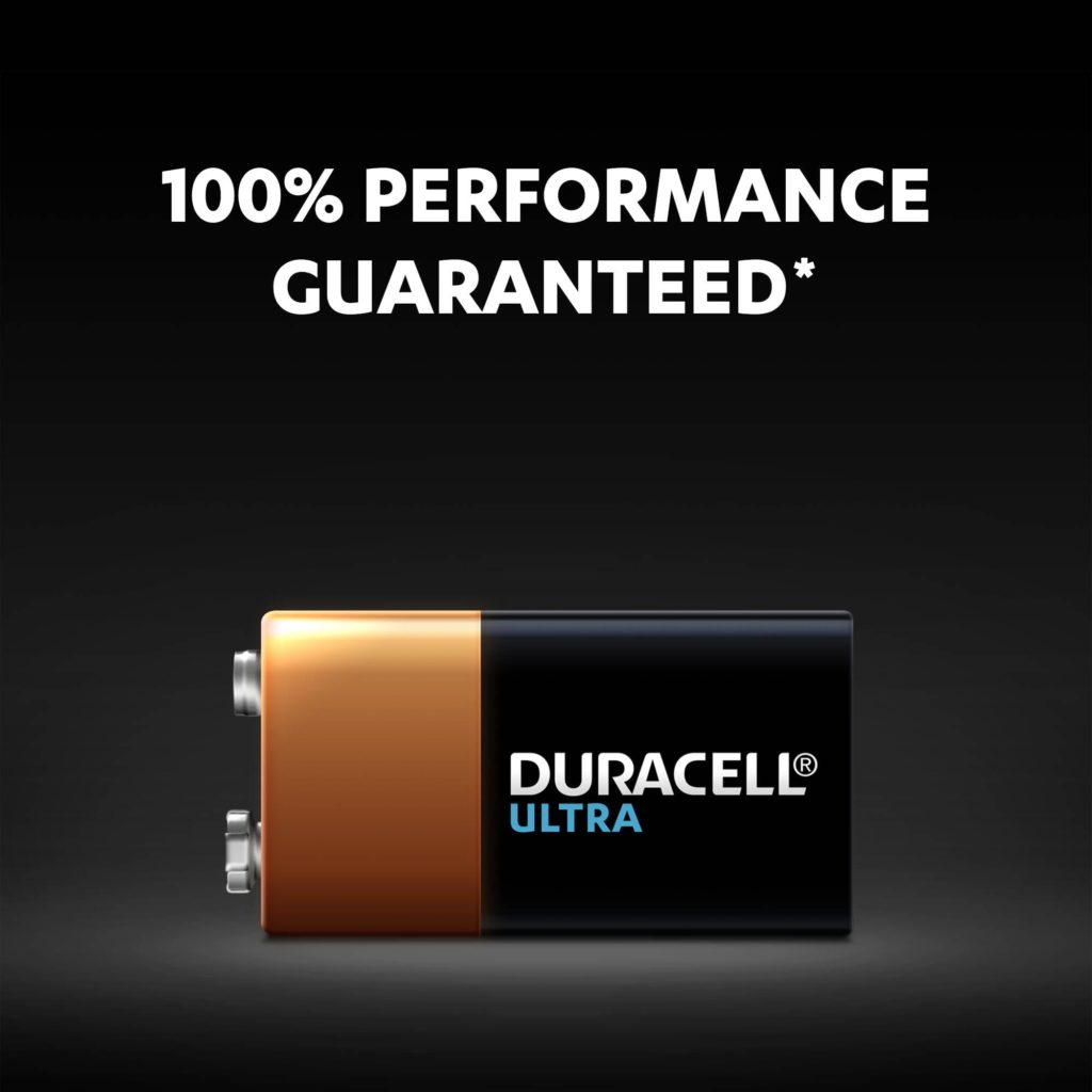 Alkaline Ultra 9V batteries with 100% performance guaranteed
