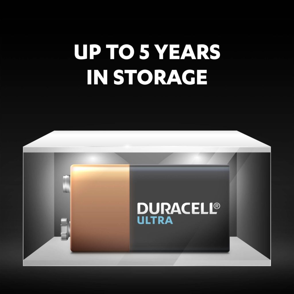 Duracell Alkaline Ultra 9V batteries fresh and powered for up to 5 years in ambient storage