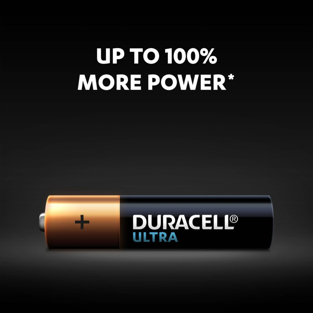 Up to 100% power more with Alkaline Type Ultra AAA size battery