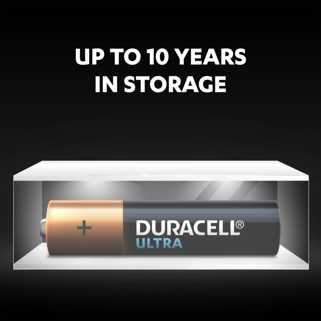 Unused Duracell Alkaline Ultra AAA batteries fresh and powered for up to 10 years in ambient storage