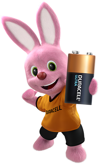 Bunny introducing Duracell Alkaline Ultra Type 9V size battery