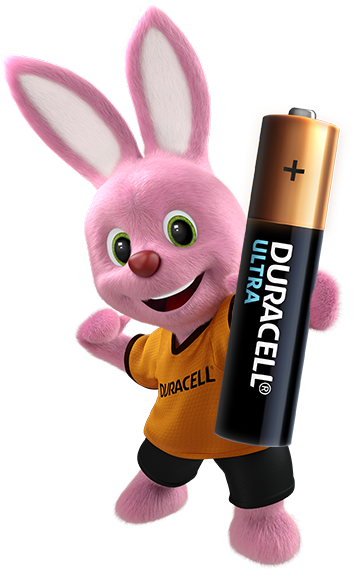 Bunny holding Alkaline Ultra AAA-sized battery