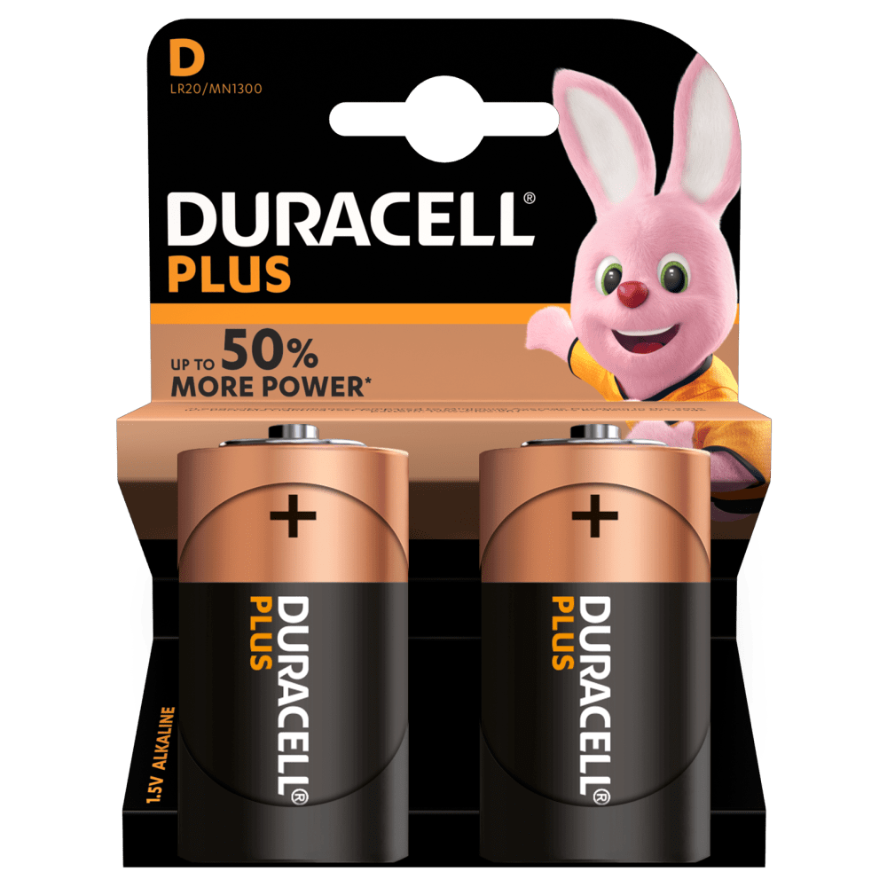 Duracell Plus Type Alkaline D-size batteries in 2-piece pack