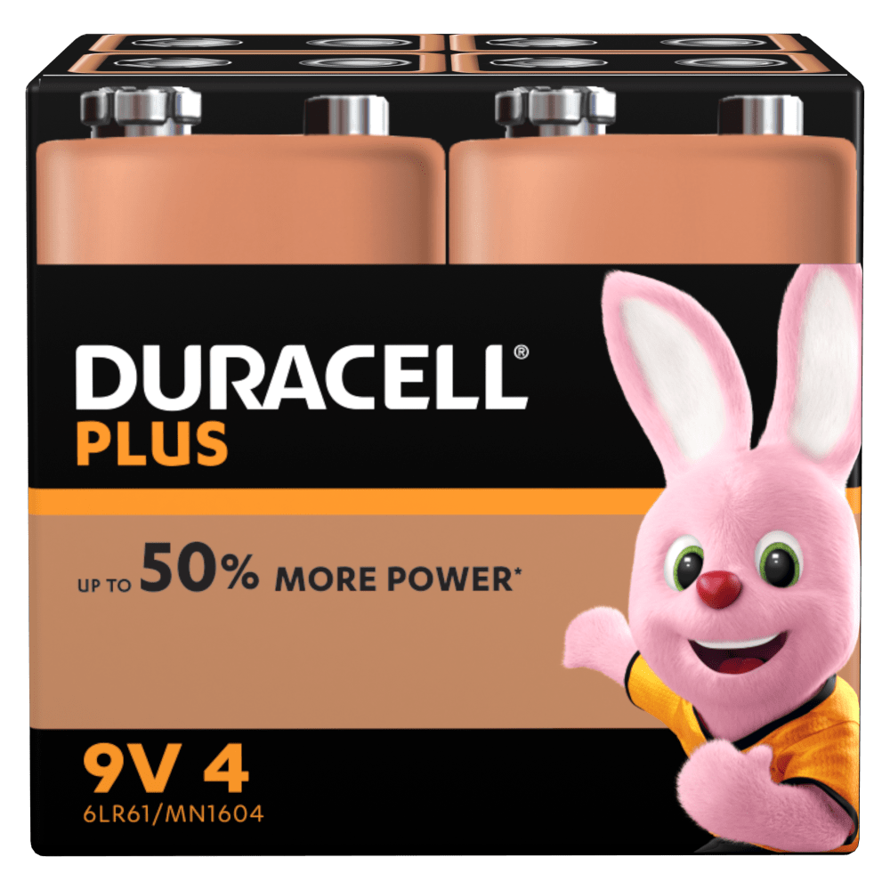 Duracell 9v battery Type Plus - 6LR61 and MN1604 in a 4 piece pack