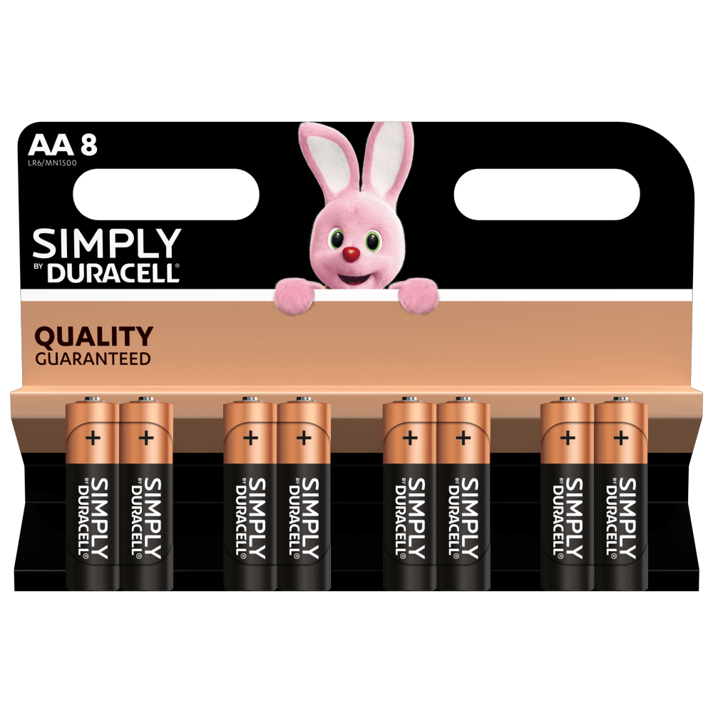 Duracell Alkaline Simply AA-size batteries in 8-piece pack