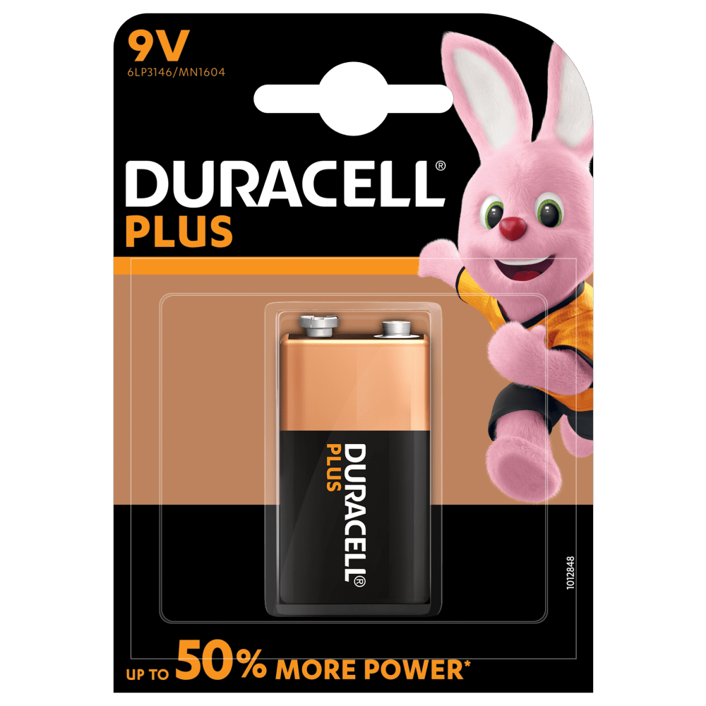 9V Batteries - Duracell Plus Alkaline Batteries