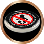 Child safety sticker used on the negative terminal of Duracell's coin batteries