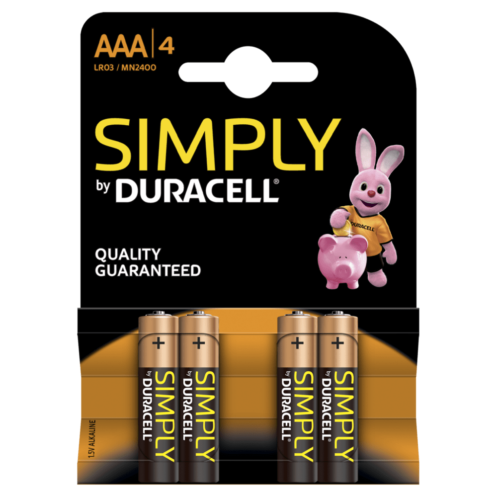 Duracell Simply batteries- Available in sizes AA & AAA