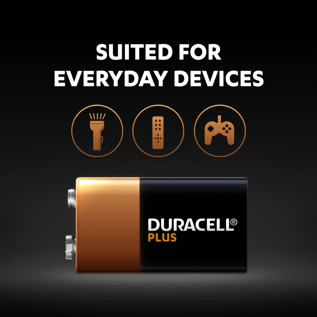 Alkaline Plus Type 9V batteries are suitable for everyday devices