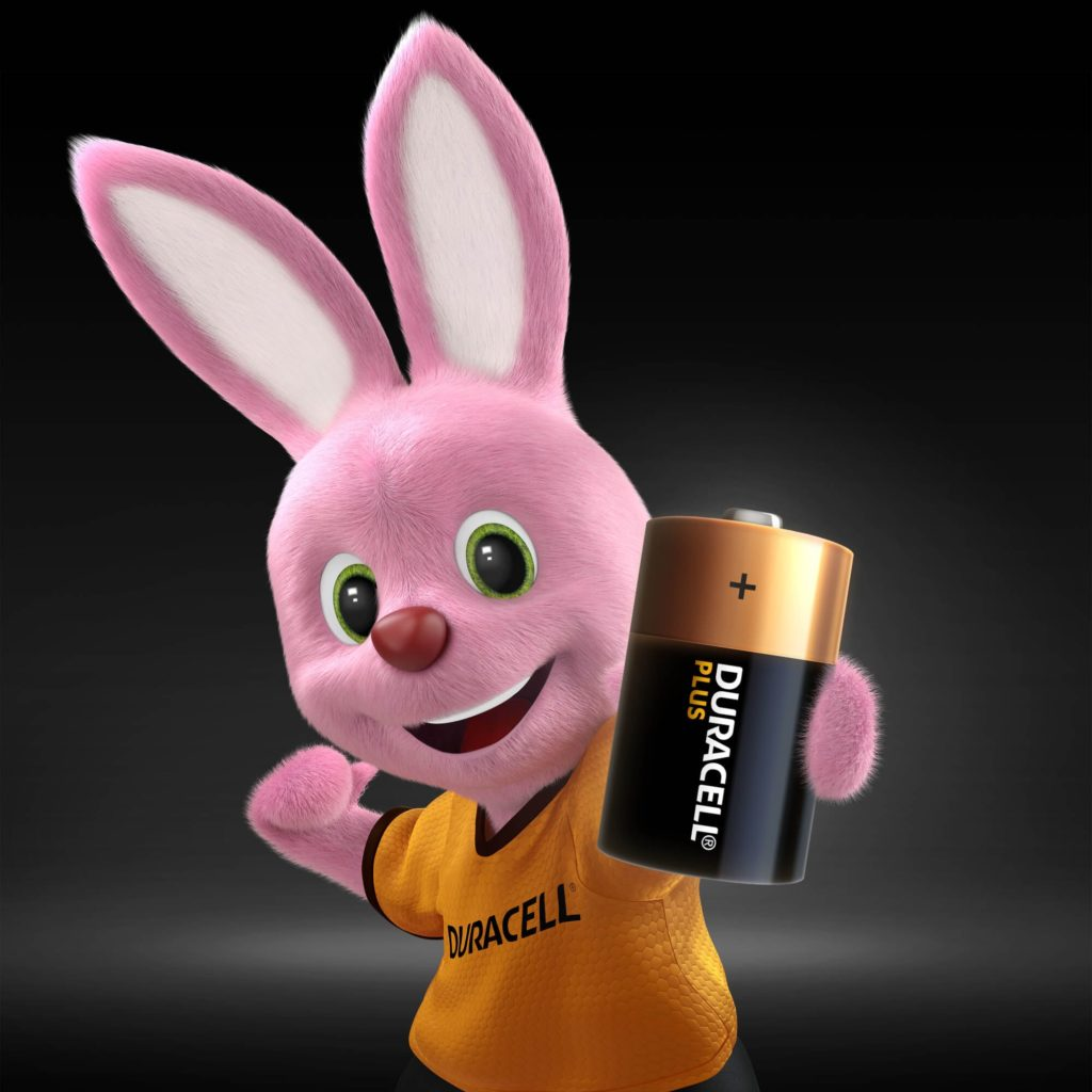 Bunny introducing Alkaline Plus Type D-size battery
