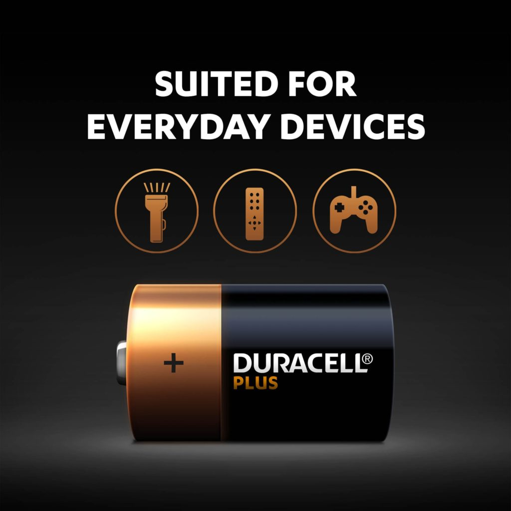 Alkaline Plus Type D-size batteries are suitable for everyday devices