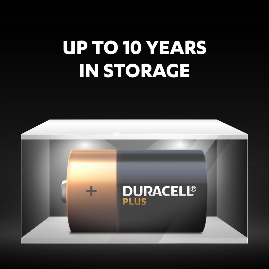 Unused Duracell Alkaline Plus D-size batteries fresh and powered for up to 10 years in ambient storage