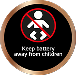 Keep batteries away from children safety sticker