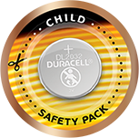 Child safety pack for coin batteries