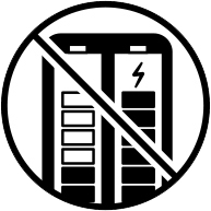 Do not mix used and new batteries safety icon