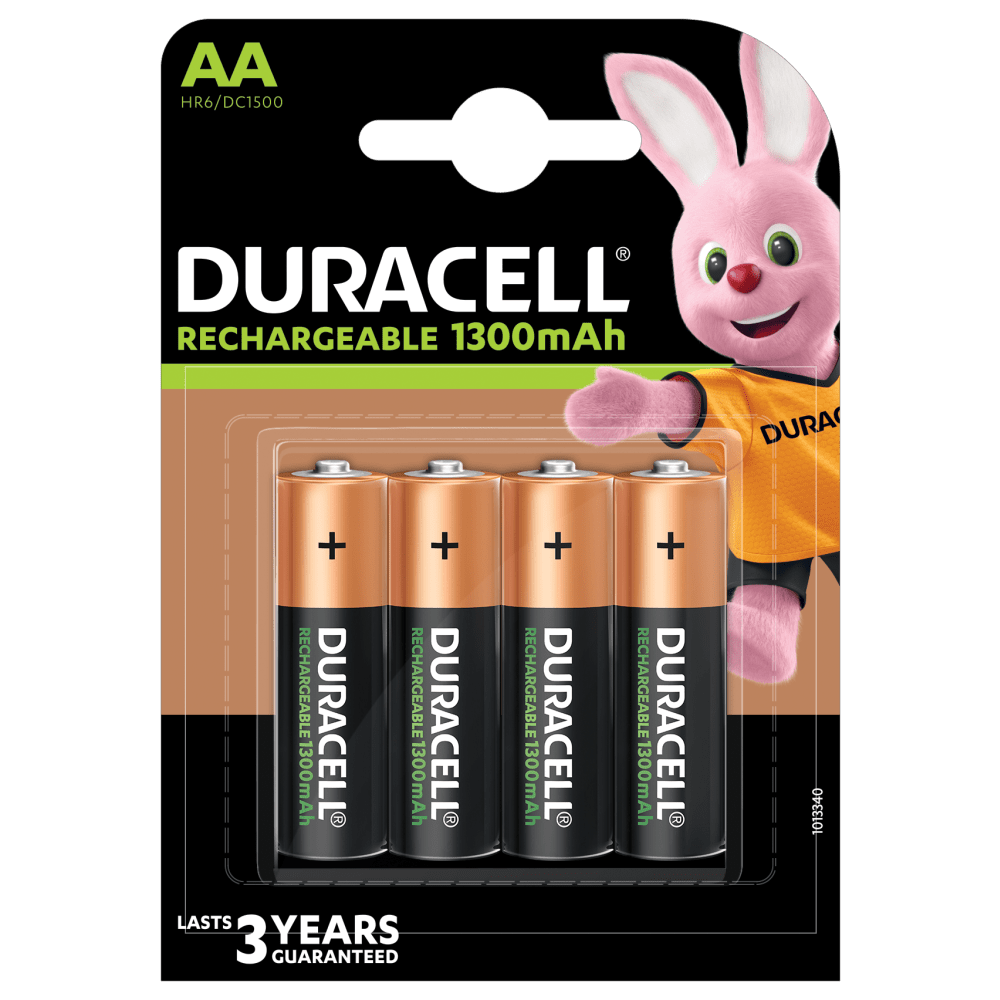 Duracell Rechargeable 1300mAh AA-sized Batteries 4 piece pack