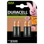 Duracell Rechargeable AAA 750mAh batteries in a 4-piece pack