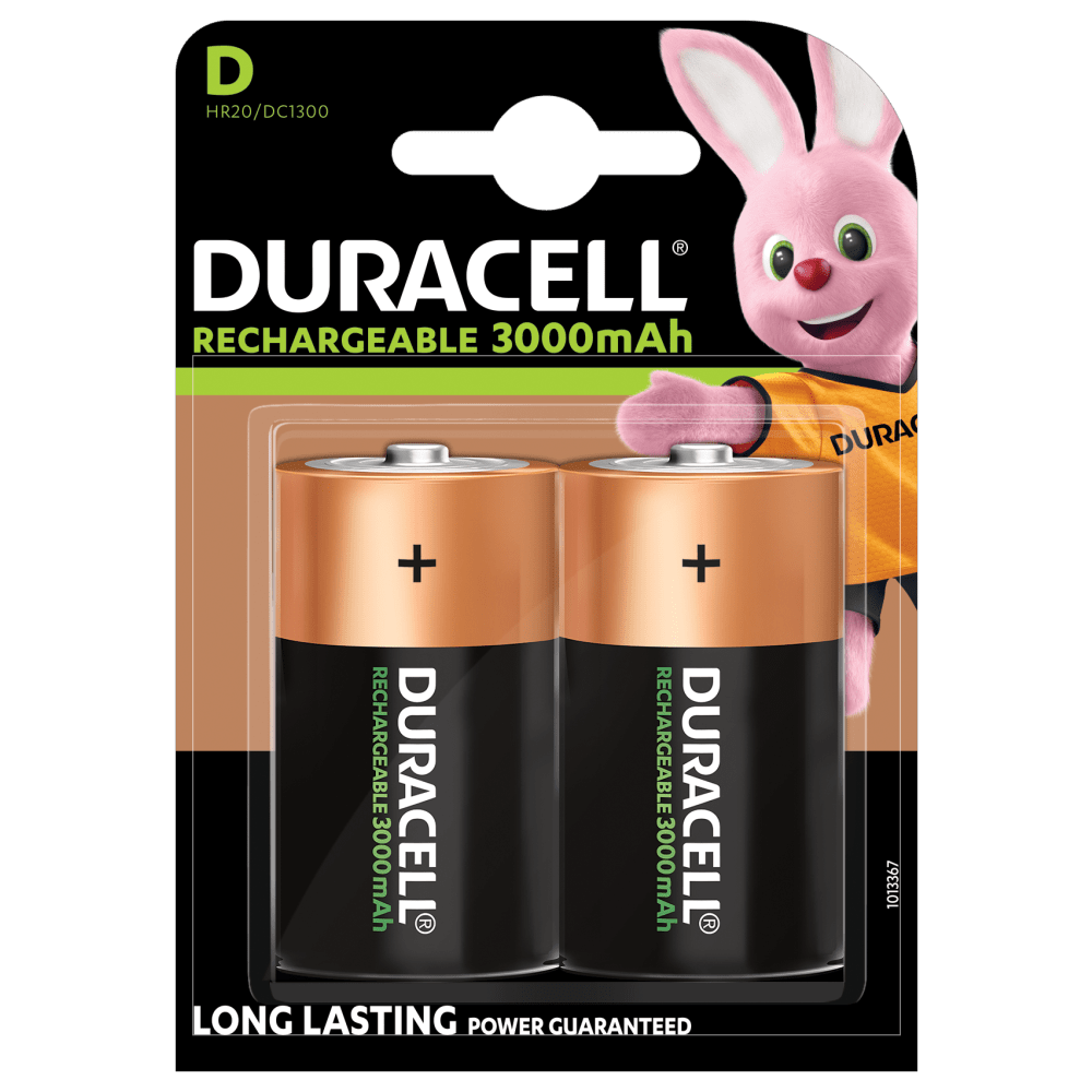 Duracell Rechargeable D size batteries 3000mAh in 2-piece pack