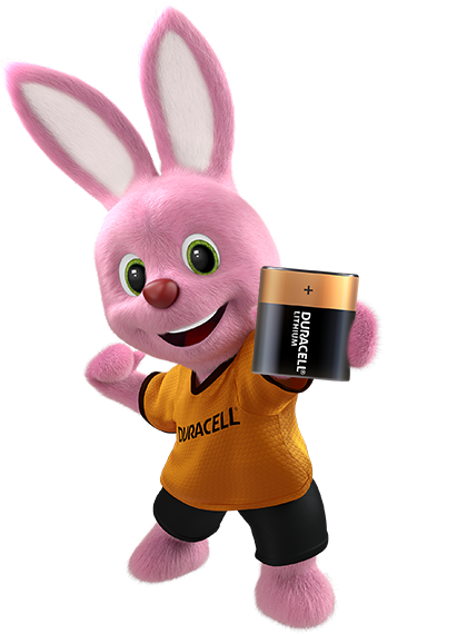 Bunny introducing Duracell Specialty Lithium 223 size 6V battery