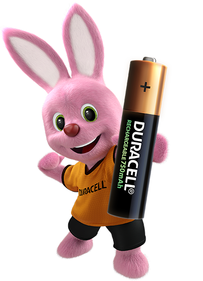 Bunny introducing Duracell Rechargeable AAA size battery 750mAh