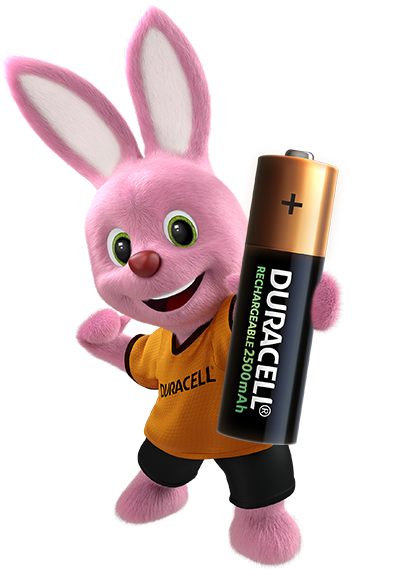Duracell Bunny holding Rechargeable AA 2500mAh battery