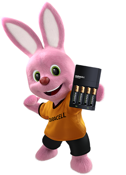 Bunny holding battery charger with four batteries inside