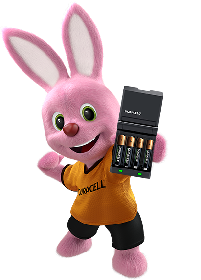Bunny holding battery charger with four rechargeable batteries inside