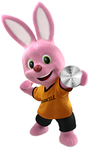 Bunny holding Duracell Lithium Coin 2025 Battery