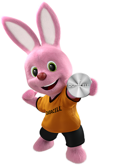 Bunny holding Duracell Specialty Coin battery