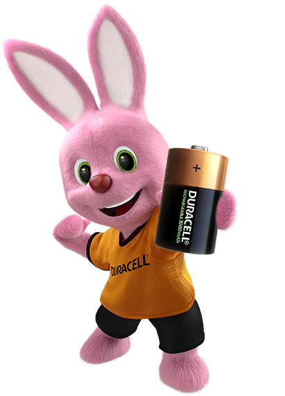 Bunny introducing Duracell Rechargeable D-size battery 3000mAh
