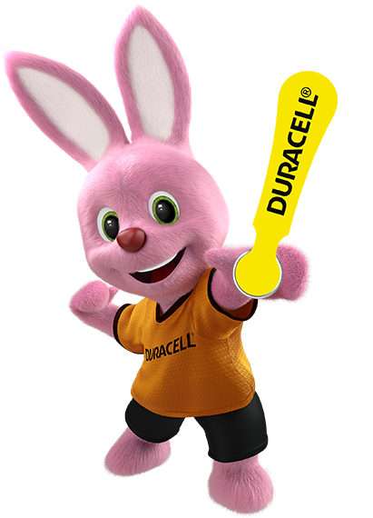 Bunny introducing Duracell hearing aids batteries size 10