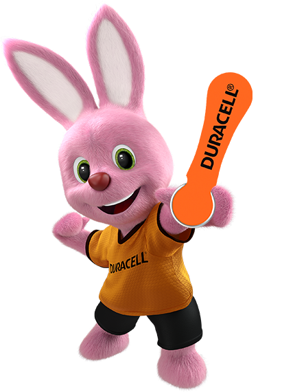 Bunny introducing Duracell hearing aids batteries size 13