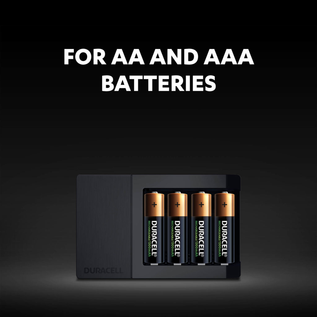 Charges both AA and AAA batteries