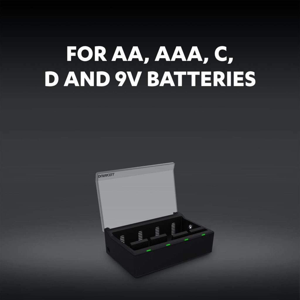 Charger for AA, AAA, C, D and 9V batteries graphic
