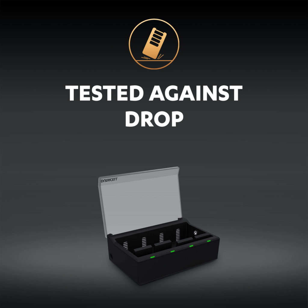 Battery charger tested agains drop illustration