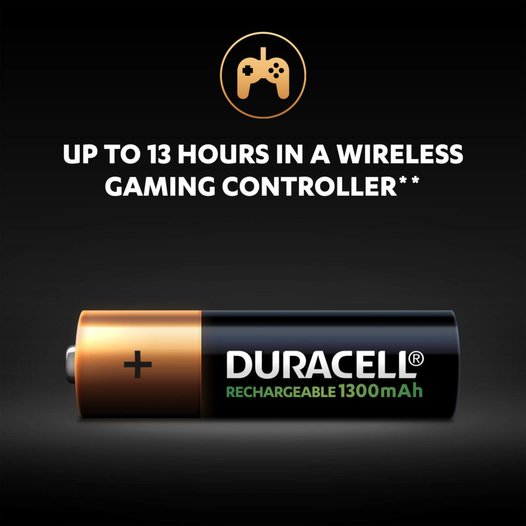 Rechargeable AA 1300mAh batteries provide up to 13 hours in wireless gaming controller