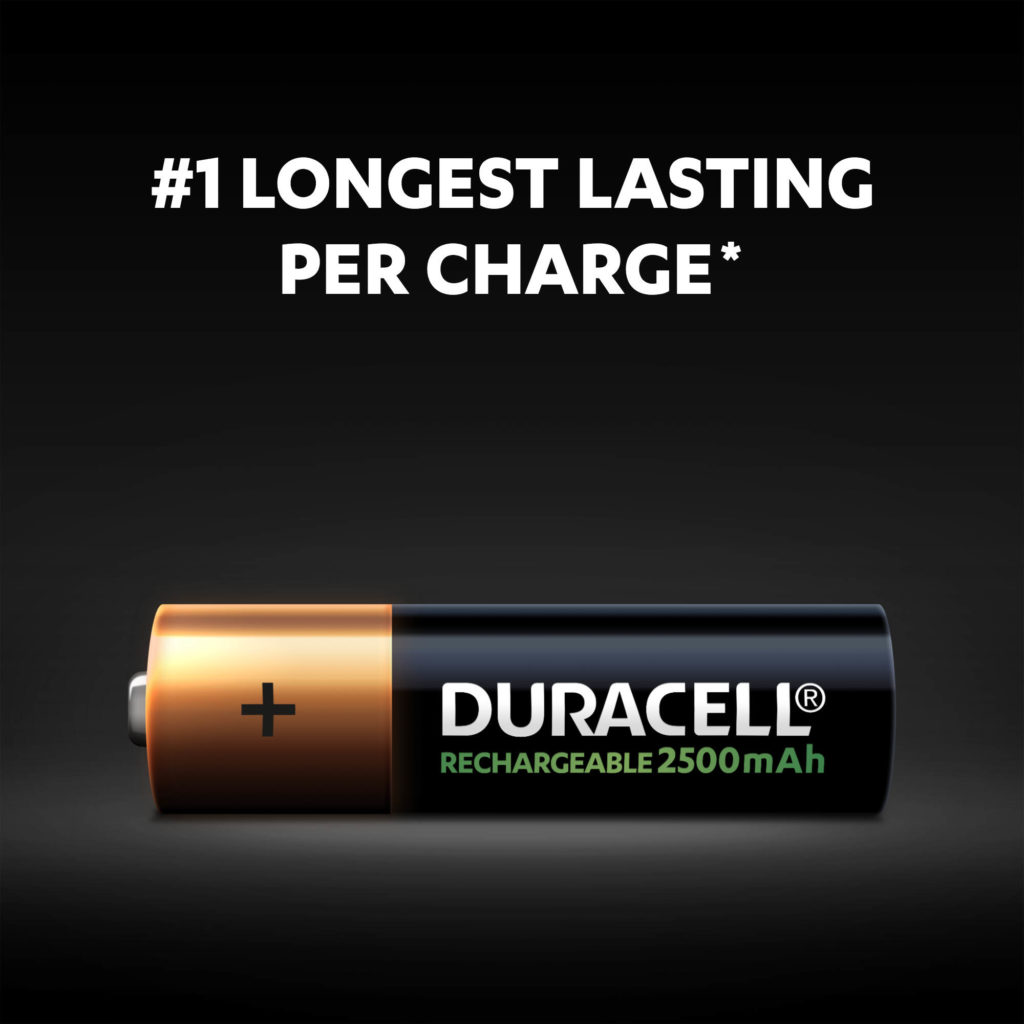 #1 longest-lasting per charge Duracell batteries