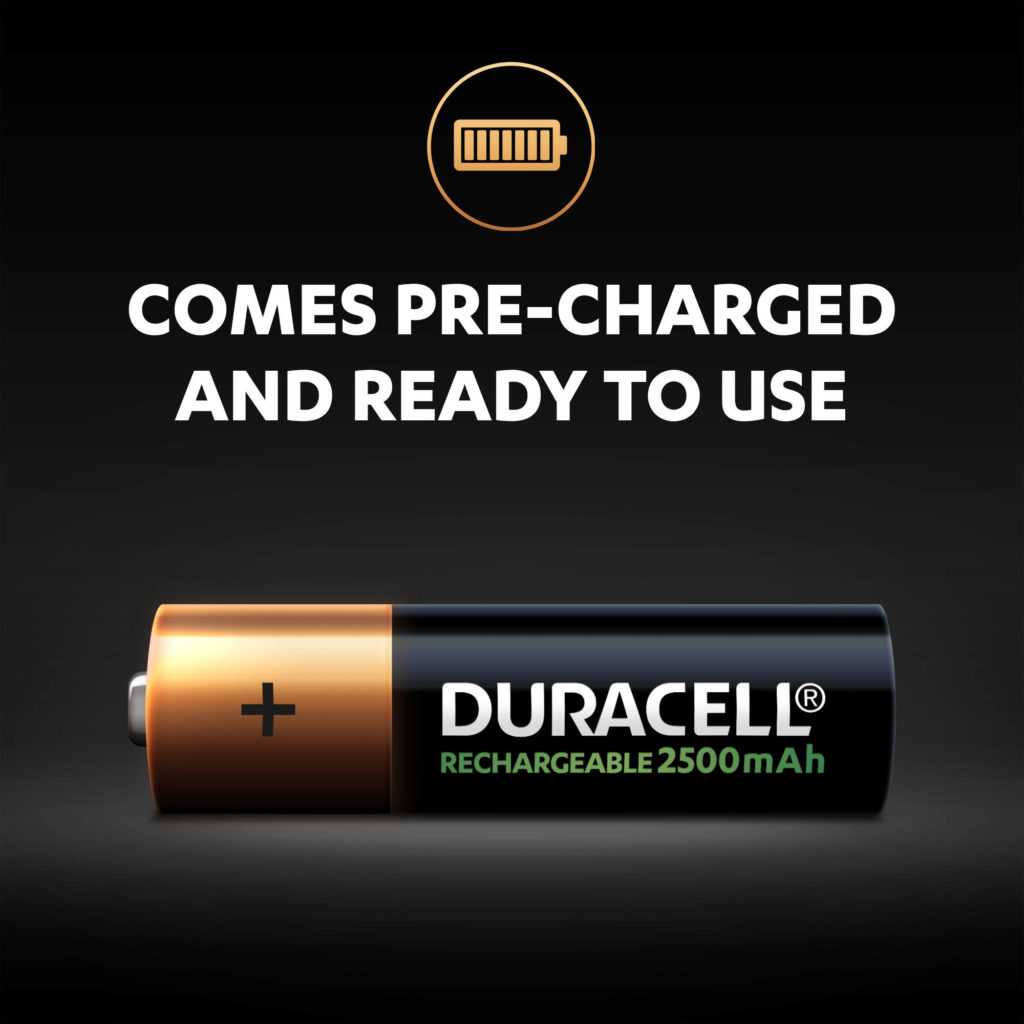 Rechargeable AA 2500 mAh batteries come pre-charged and ready to use