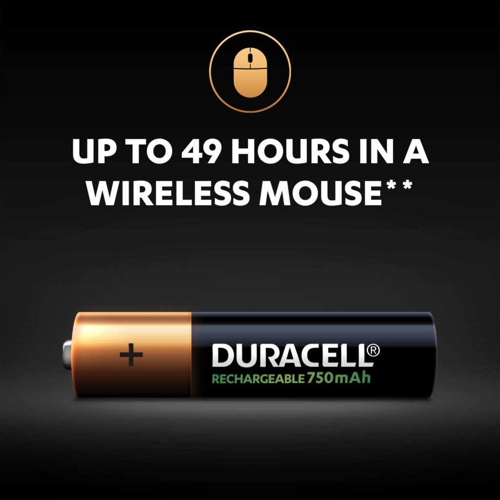 Rechargeable AAA batteries provide up to 49 hours of power in wireless mouse