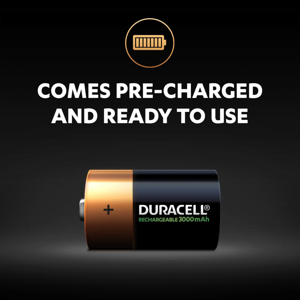 Rechargeable D-size battery comes pre-charged and ready to use