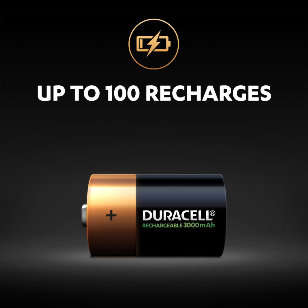 Up to 100 recharges for Duracell rechargeable D-size batteries illustration