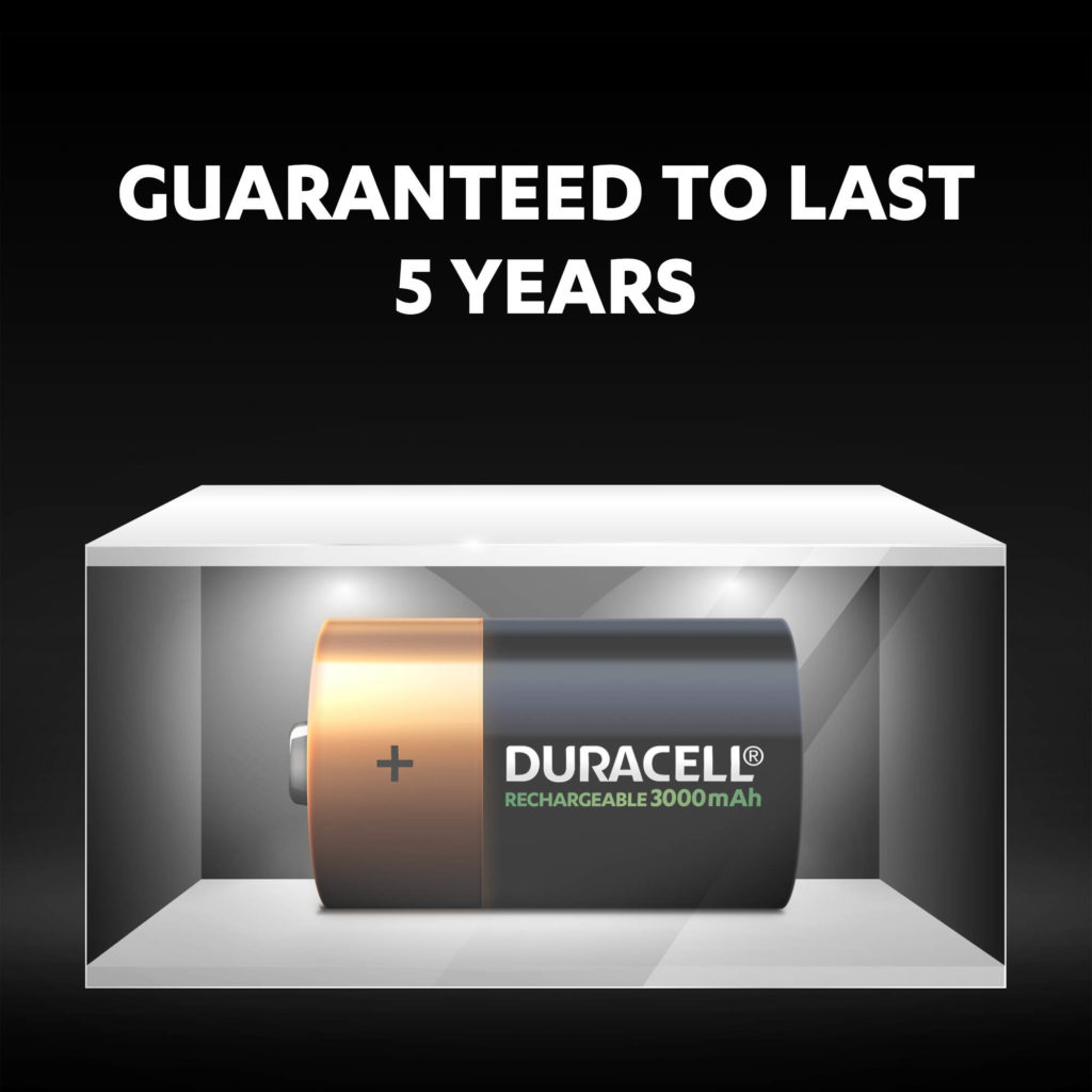 Unused Duracell Rechargeable D size 3000 mAh batteries fresh and powered for up to 5 years in ambient storage