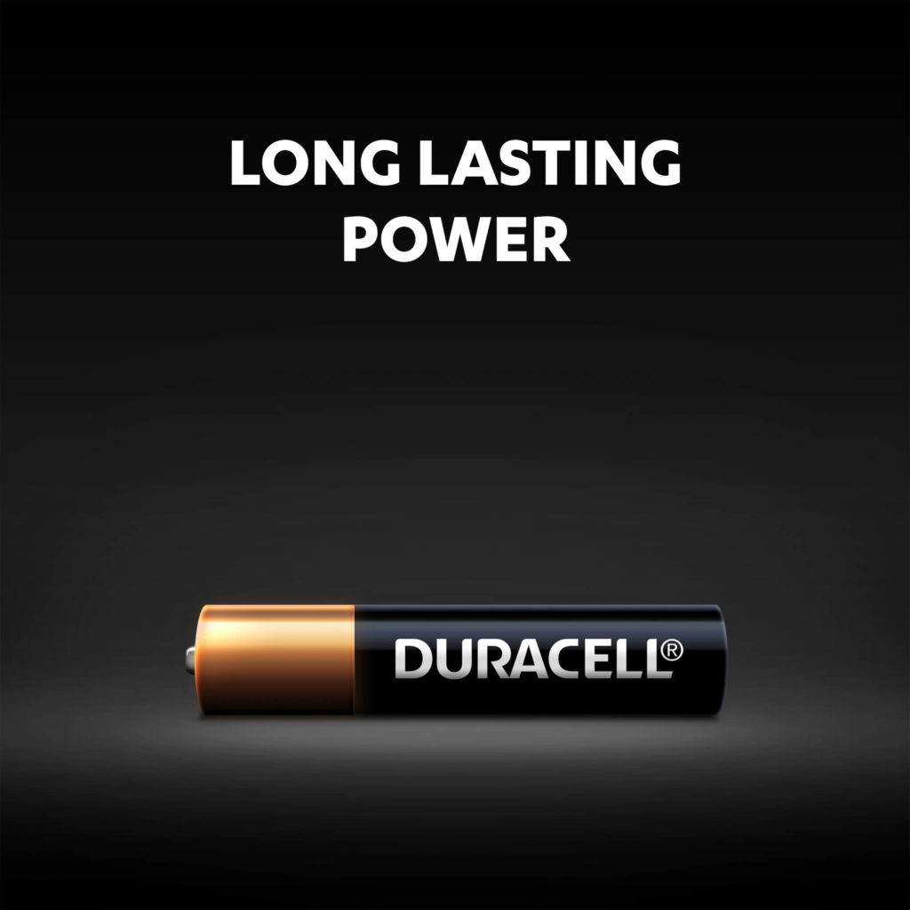 Long lasting power of Duracell AAAA alkaline batteries