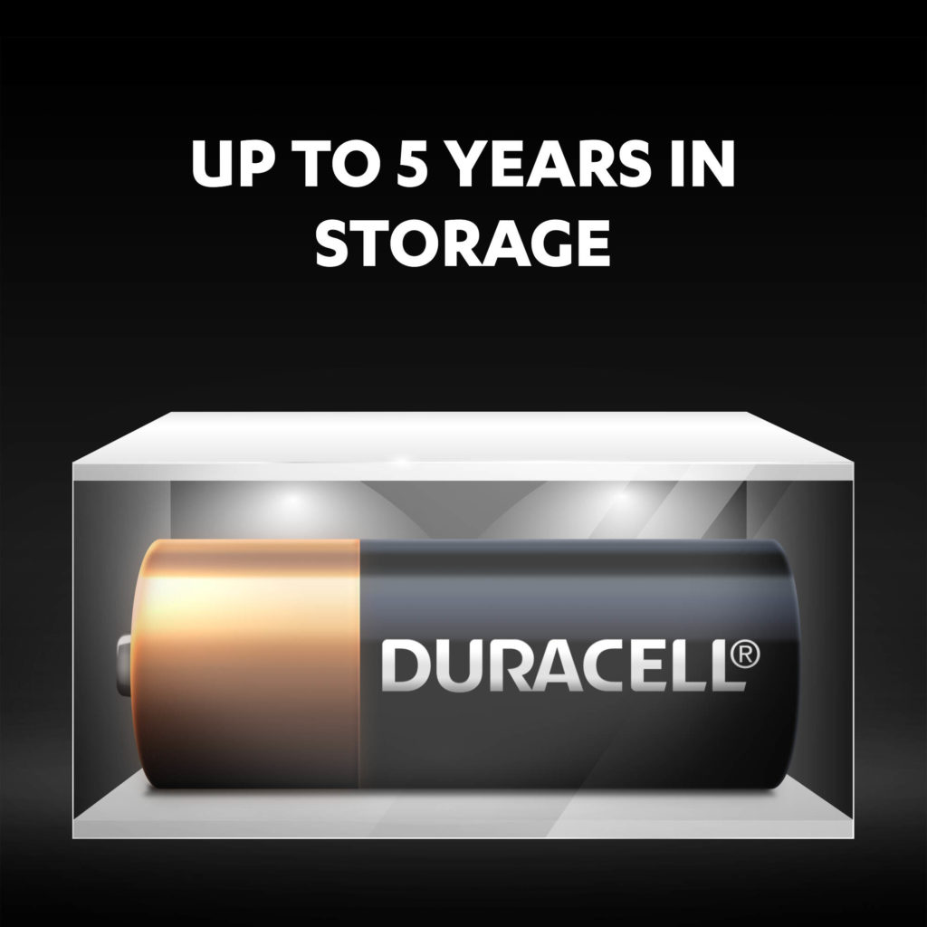 Unused specialty alkaline N size batteries stay fresh and powered for up to 5 years in ambient storage