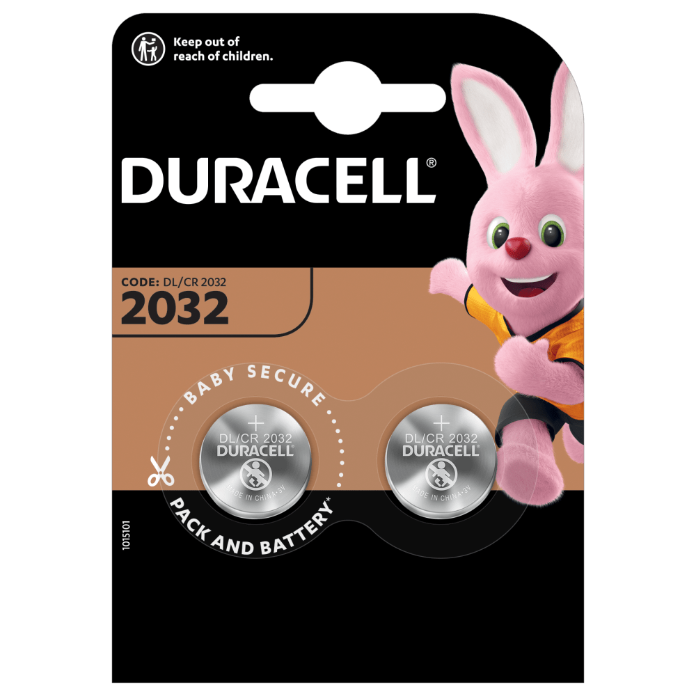 Duracell Lithium Coin 2032 with 2 batteries in a package